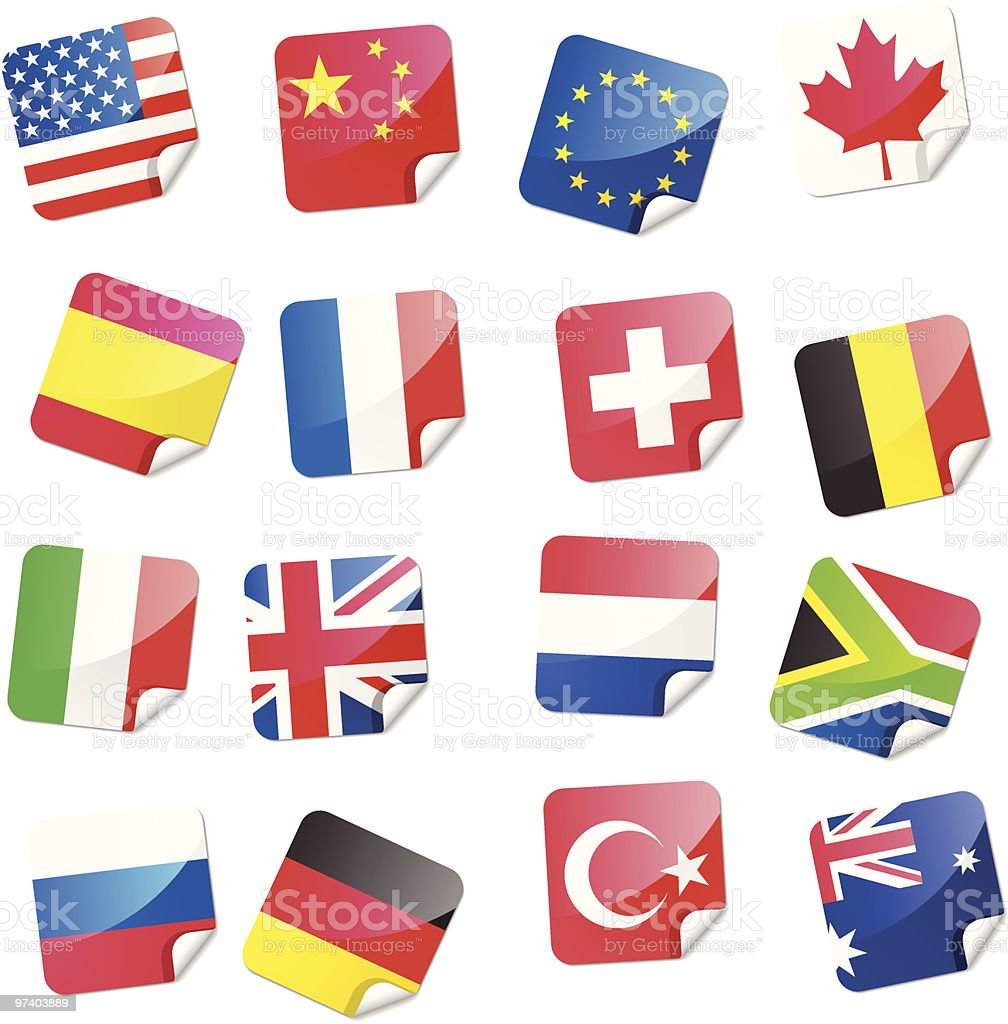 Flag Stickers royalty-free stock vector art