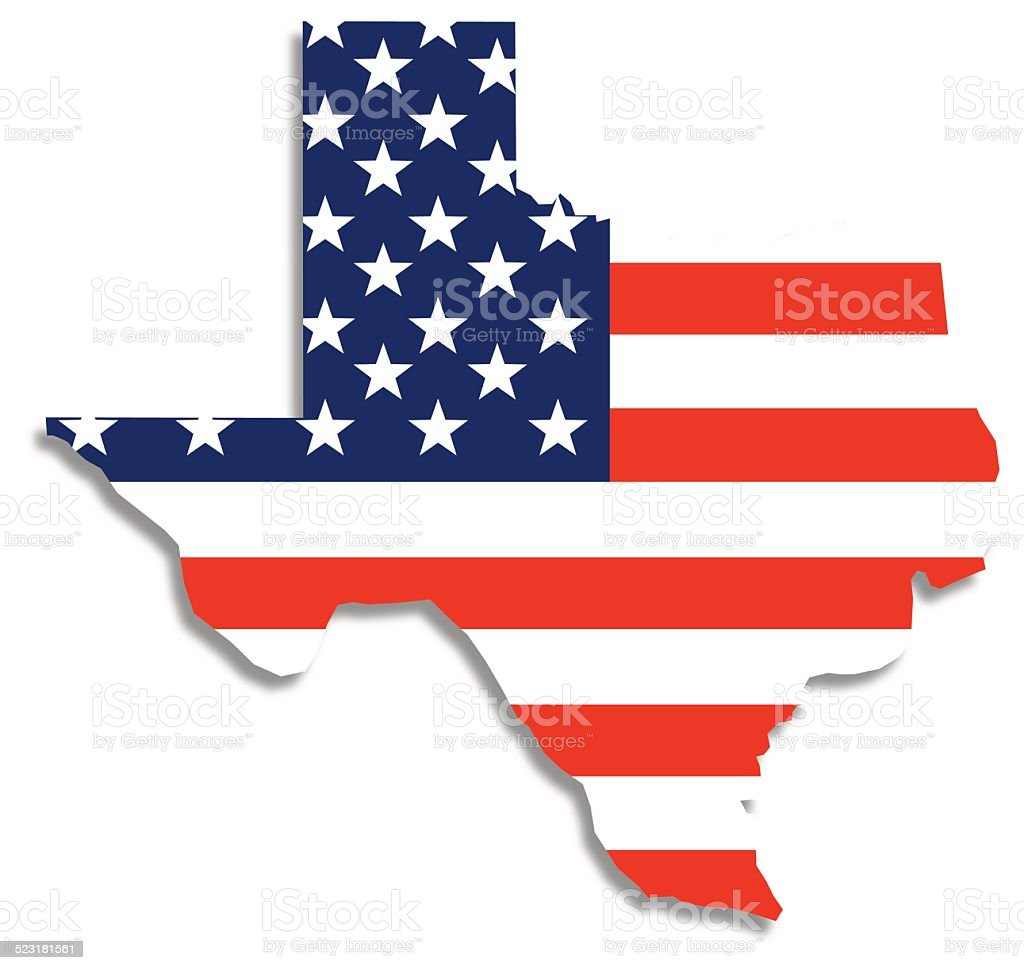 Usa Flag Texas Map Stock Vector Art IStock - Us map texas vector