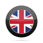 Flag - United Kingdom. Shiny black round button.