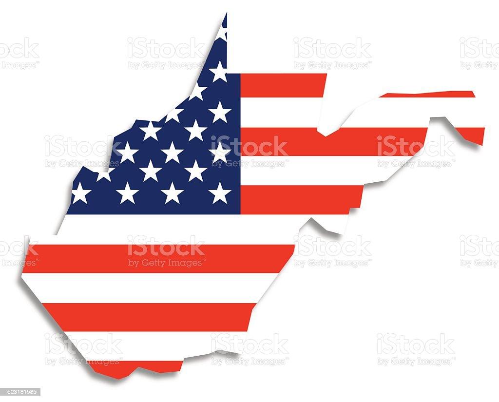 Usa Flag West Virginia Map Stock Vector Art  IStock - Usa map west virginia