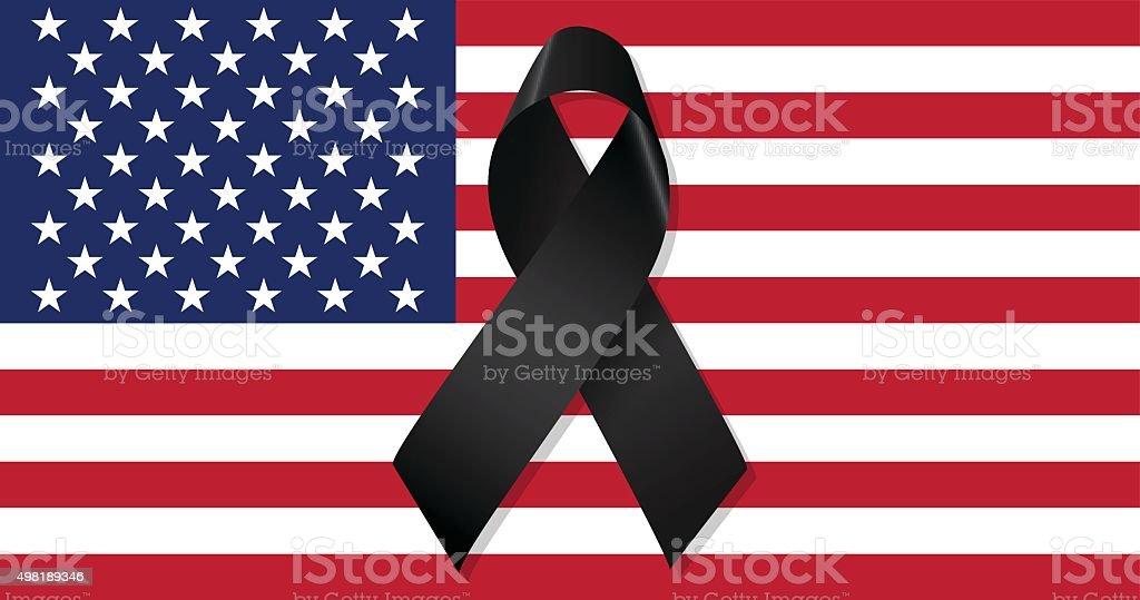 USA flag with black ribbon vector vector art illustration
