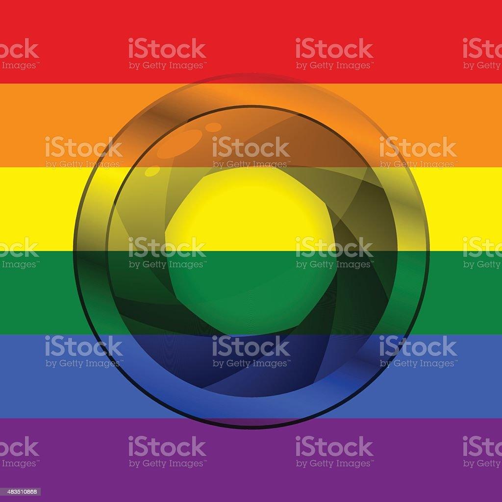 LGBT flag with camera shutter vector art illustration
