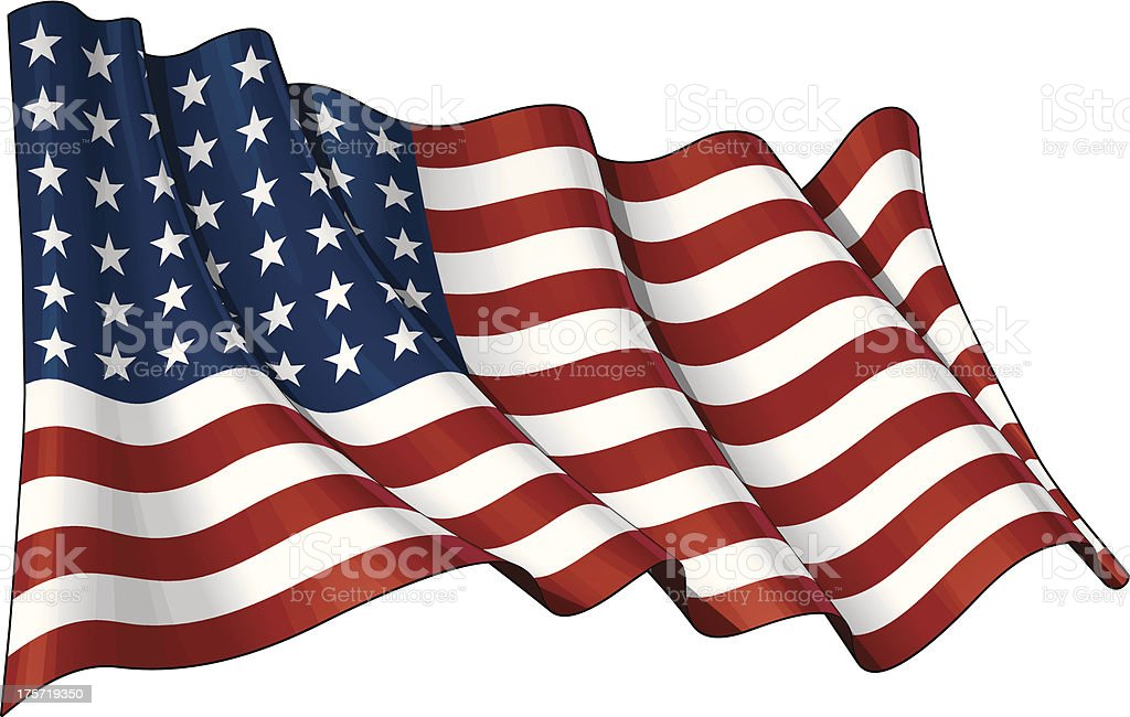 US Flag WWI-WWII (48 stars) vector art illustration