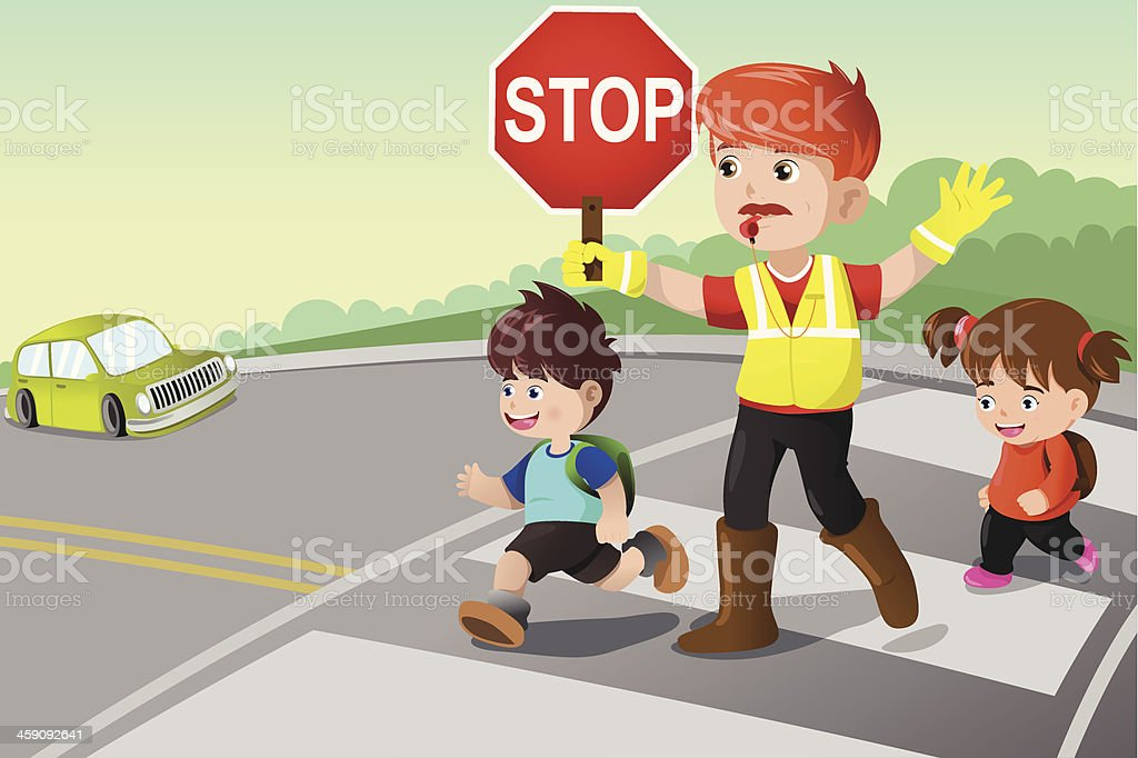 Flagger and kids crossing the street vector art illustration