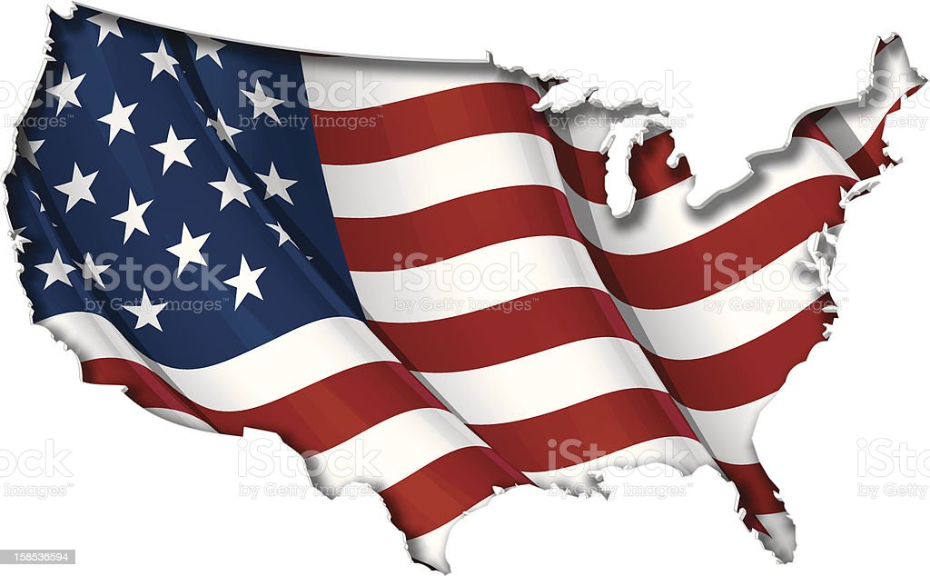 US Flag-Map Inner Shadow vector art illustration