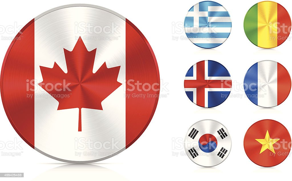 Flags | Aluminium icons set royalty-free stock vector art