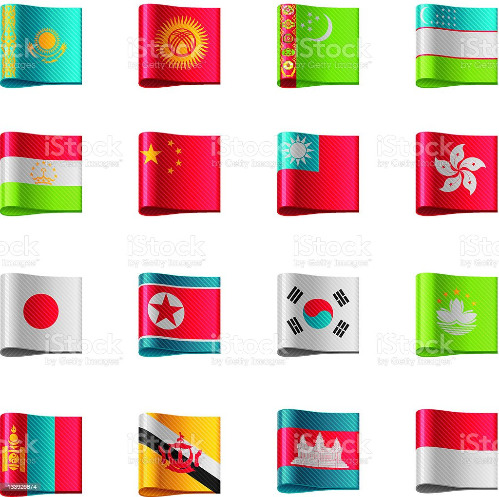 Flags. Asia royalty-free stock vector art