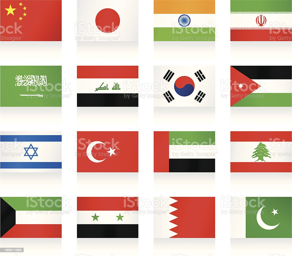 Flags collection - Asia vector art illustration