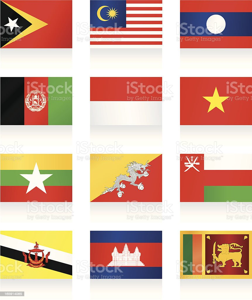 Flags collection - Asia royalty-free stock vector art
