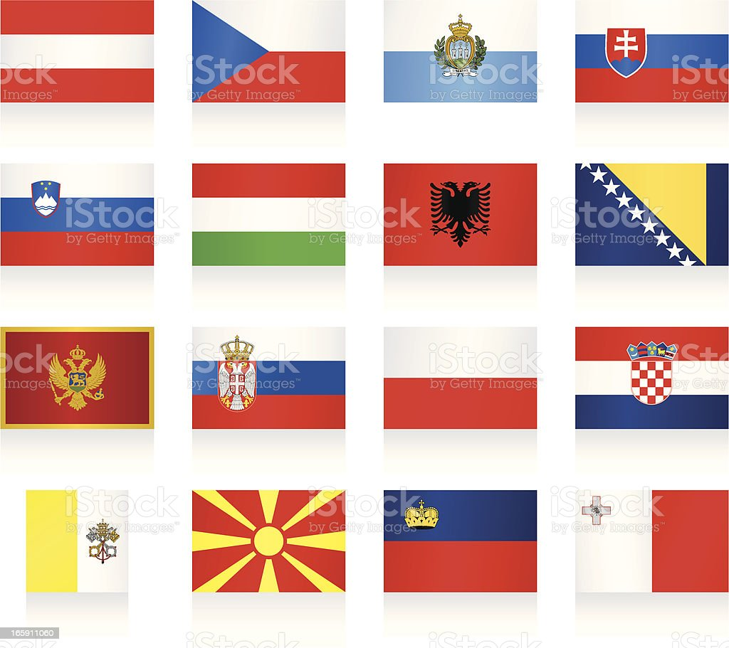 Flags collection - Central and Southern Europe royalty-free stock vector art