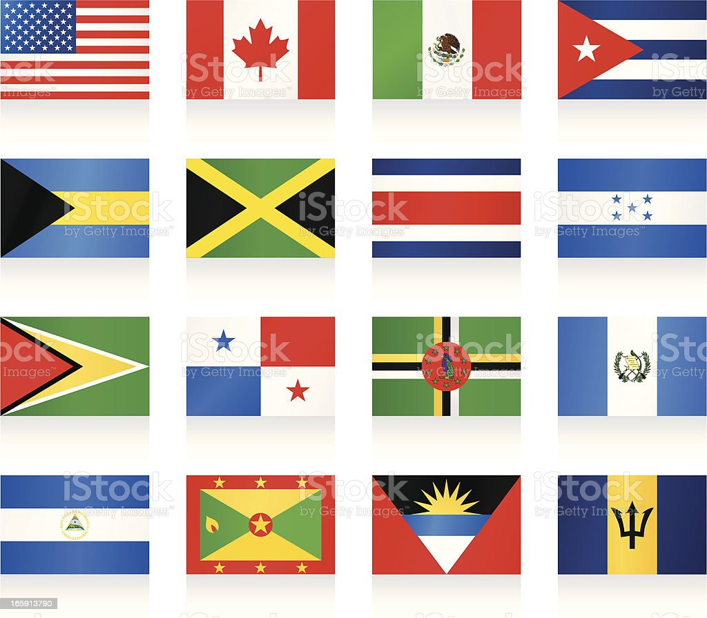 Flags collection - North and Central America vector art illustration