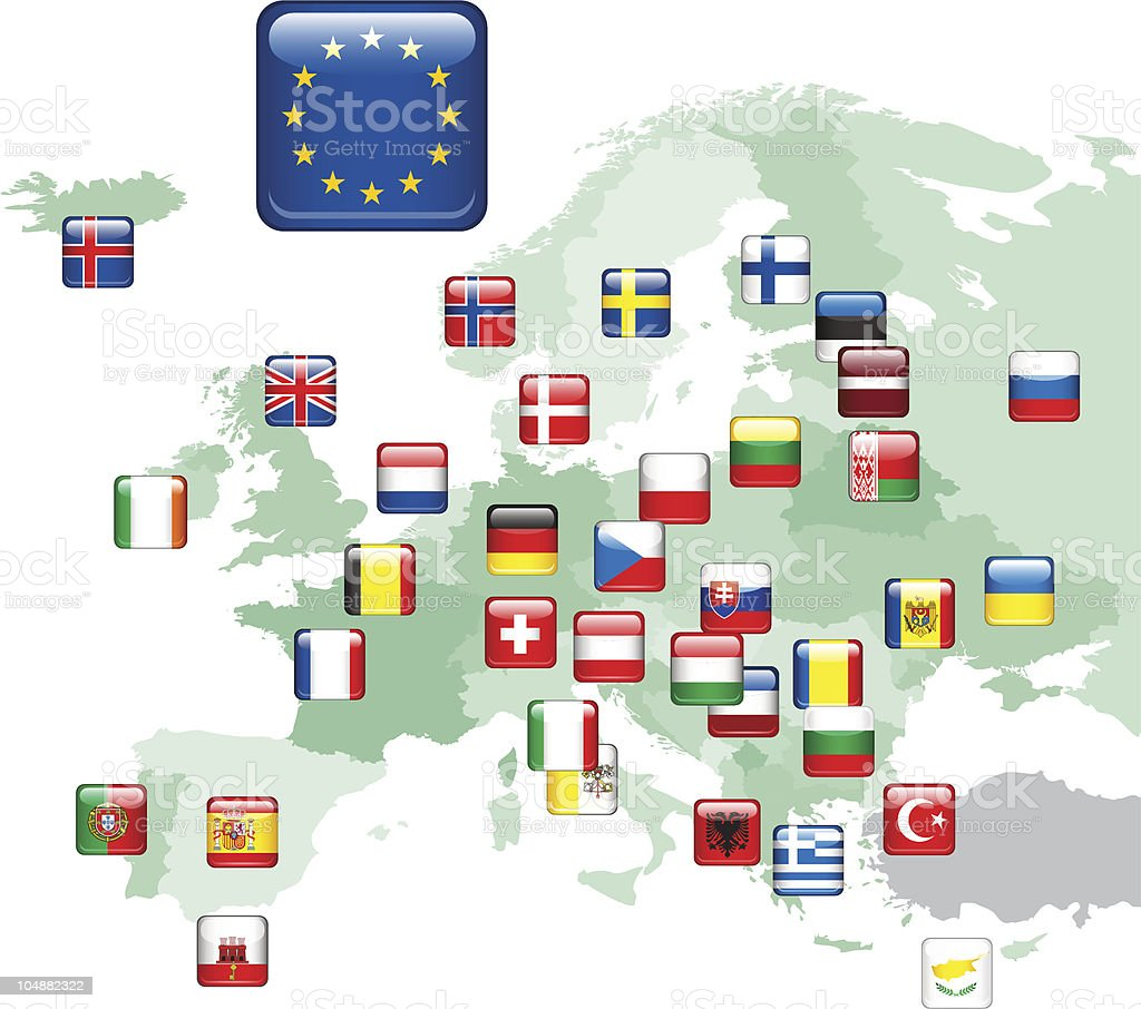Flags. Europe Map. vector art illustration