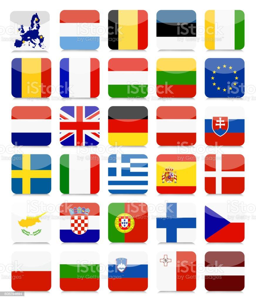 EU Flags Flat Square Icon Set vector art illustration