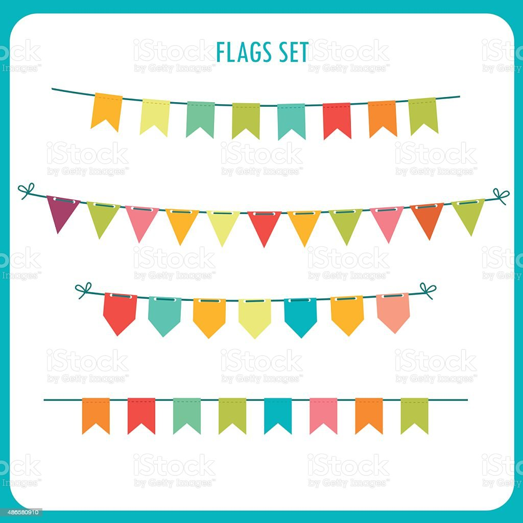 Flags Garlands Colors Vector Set. Vector On White Background. vector art illustration