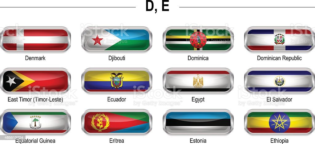 Flags icon - 'D', 'E' vector art illustration