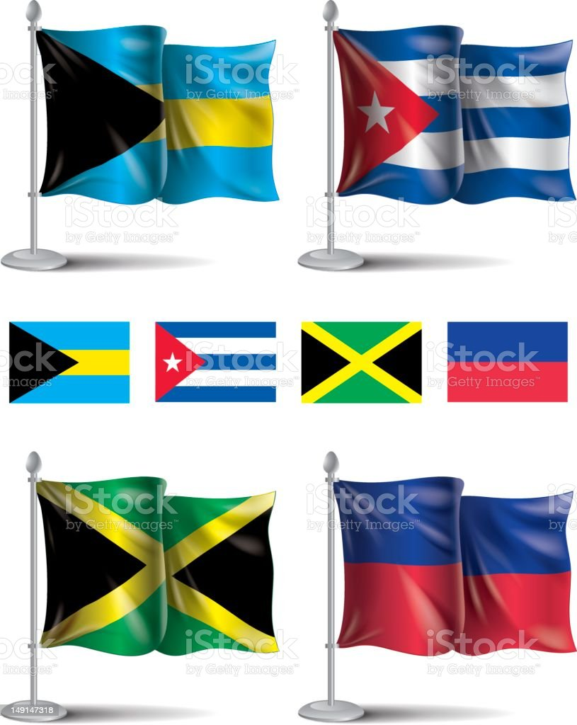 Flags icons: Bahamas, Cuba, Jamaica, Haiti royalty-free stock vector art