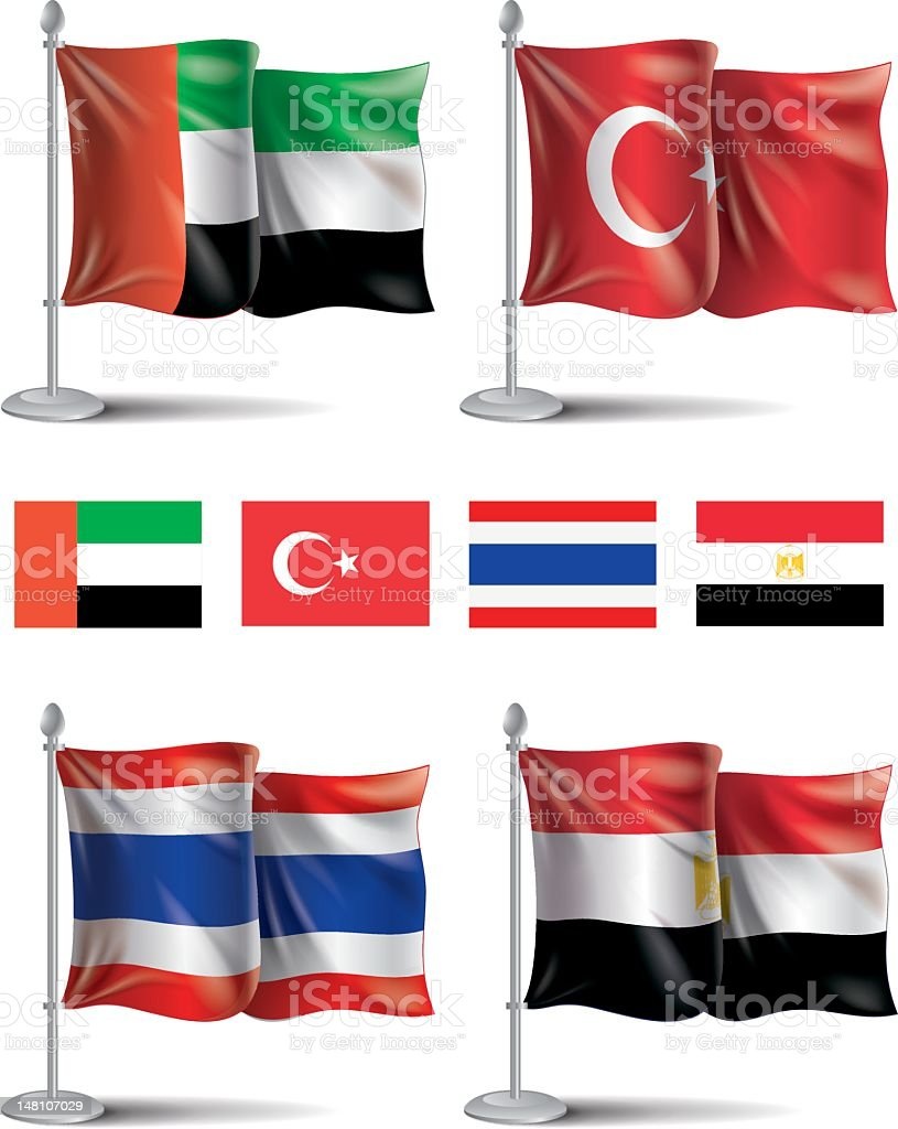Flags icons: UAE, Turkey, Thailand, Egypt royalty-free stock vector art