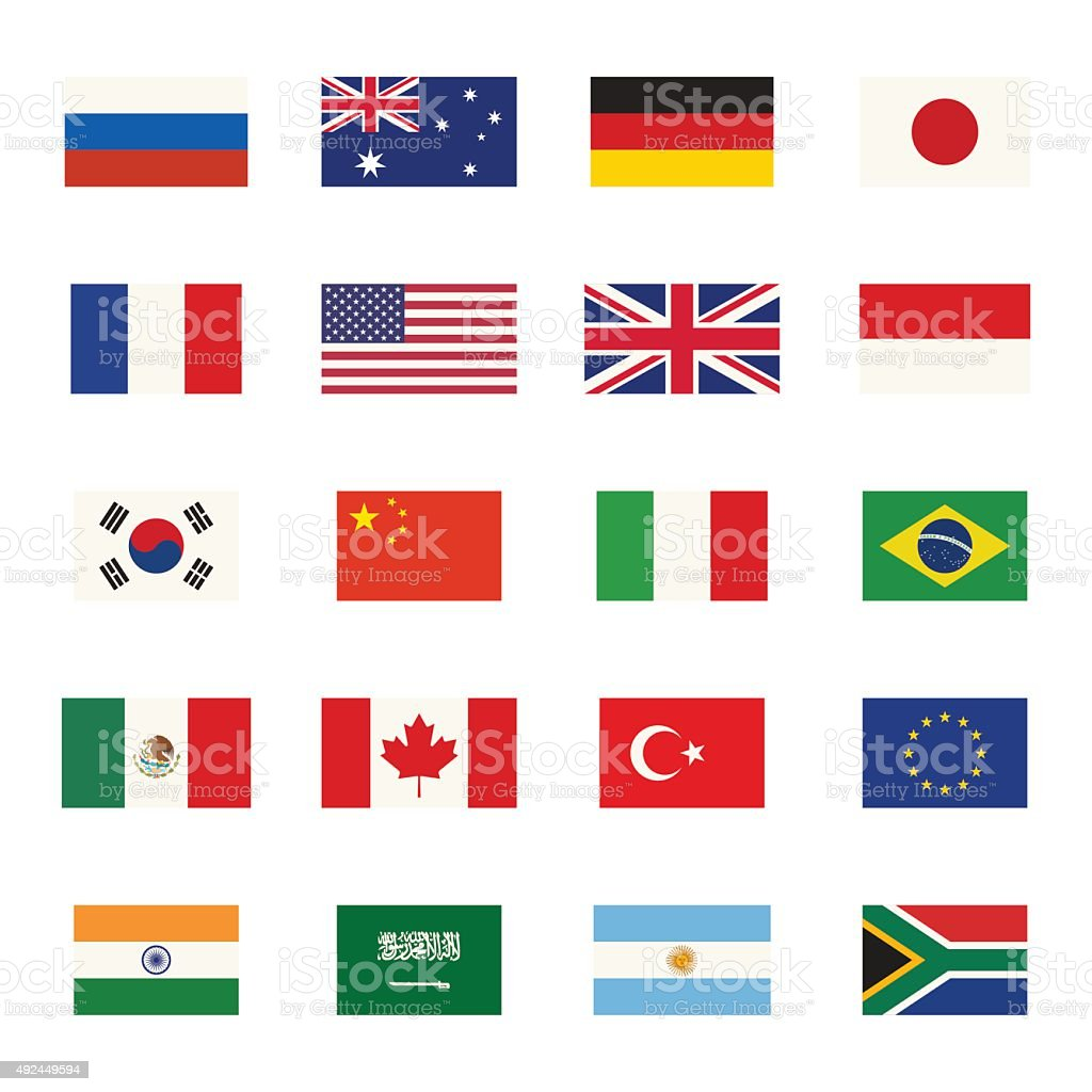 Flags icons vector art illustration