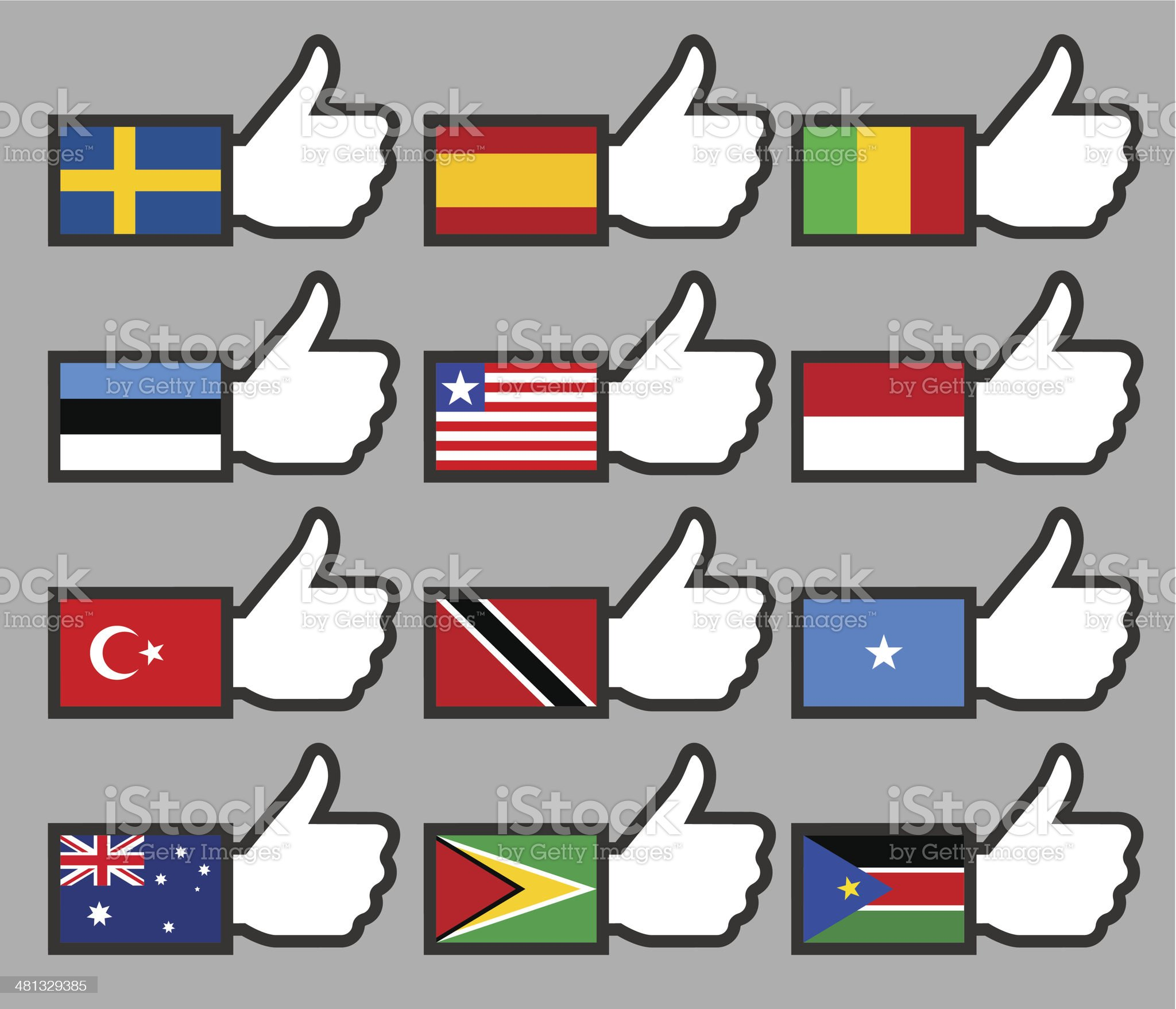 Flags in the Thumbs up-09 royalty-free stock vector art