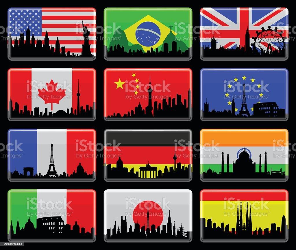 Flags Isolated on Black vector art illustration