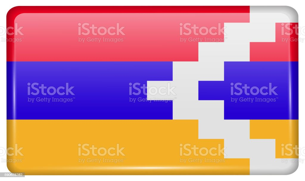 Flags Karabakh Republic in the form of a magnet on vector art illustration