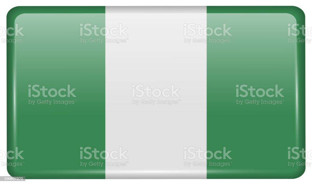 Flags Nigeria in the form of a magnet on refrigerator vector art illustration