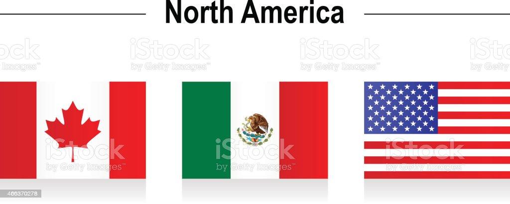 Flags - North America vector art illustration
