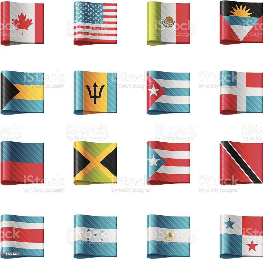 Flags. North and Central America vector art illustration