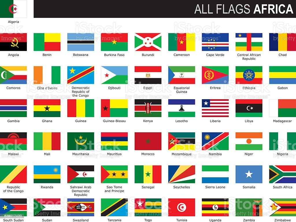 flags of Africa vector art illustration