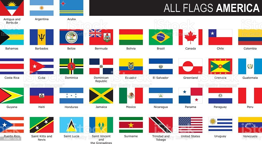 flags of America vector art illustration