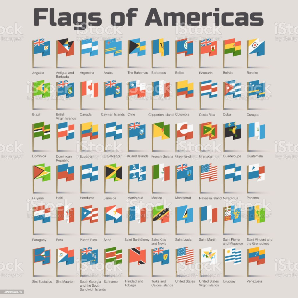 Flags of Americas in cartoon style vector art illustration