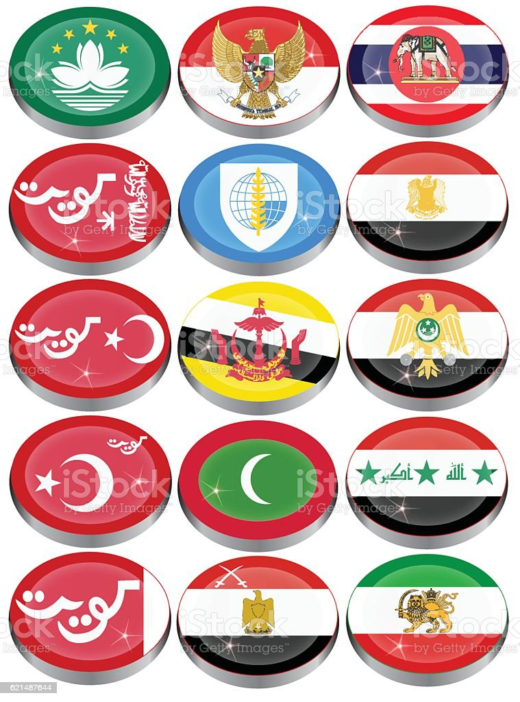 Flags of Asia vector art illustration