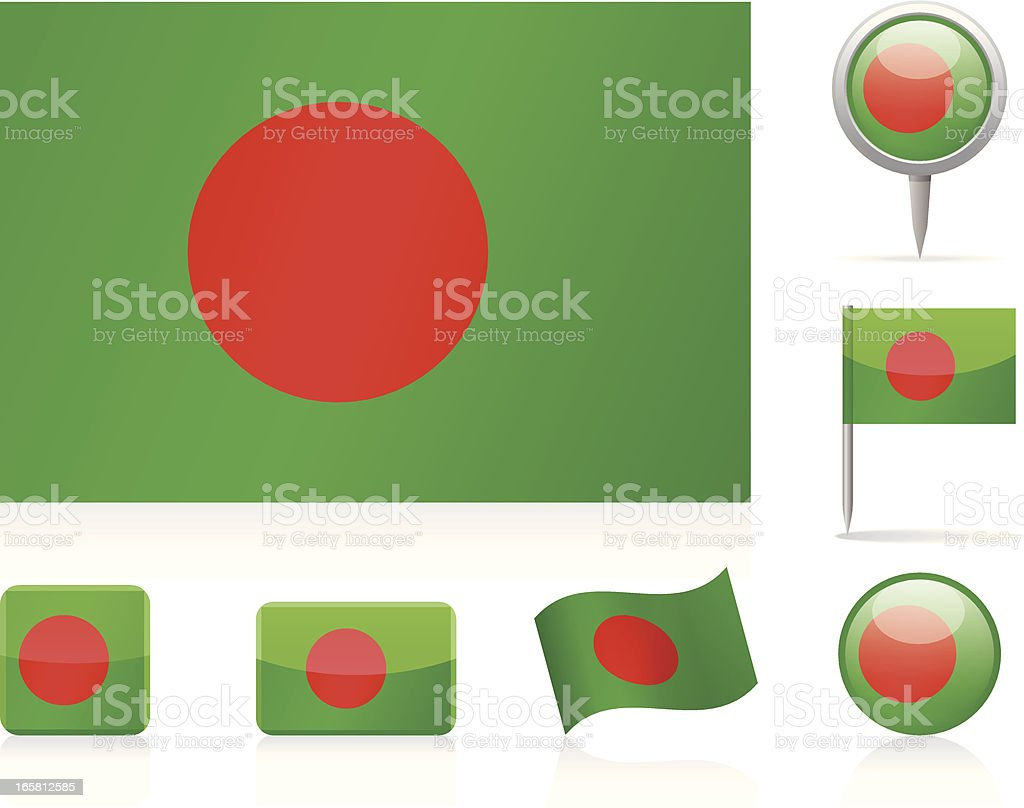 Flags of Bangladesh - icon set royalty-free stock vector art