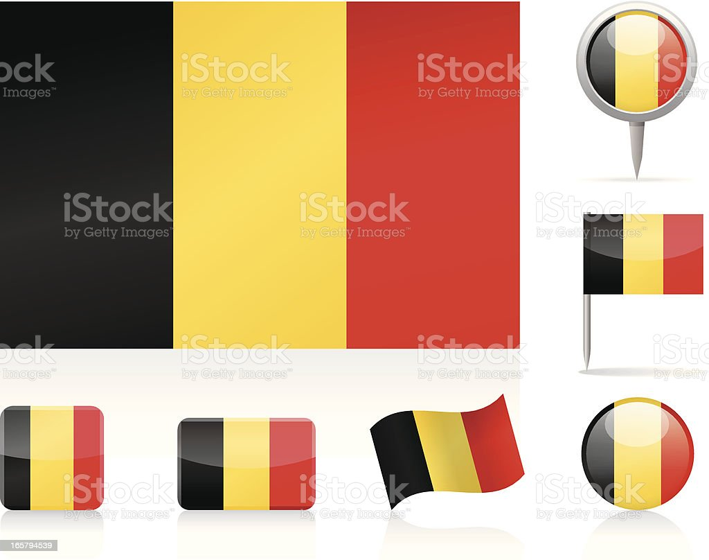 Flags of Belgium - icon set royalty-free stock vector art