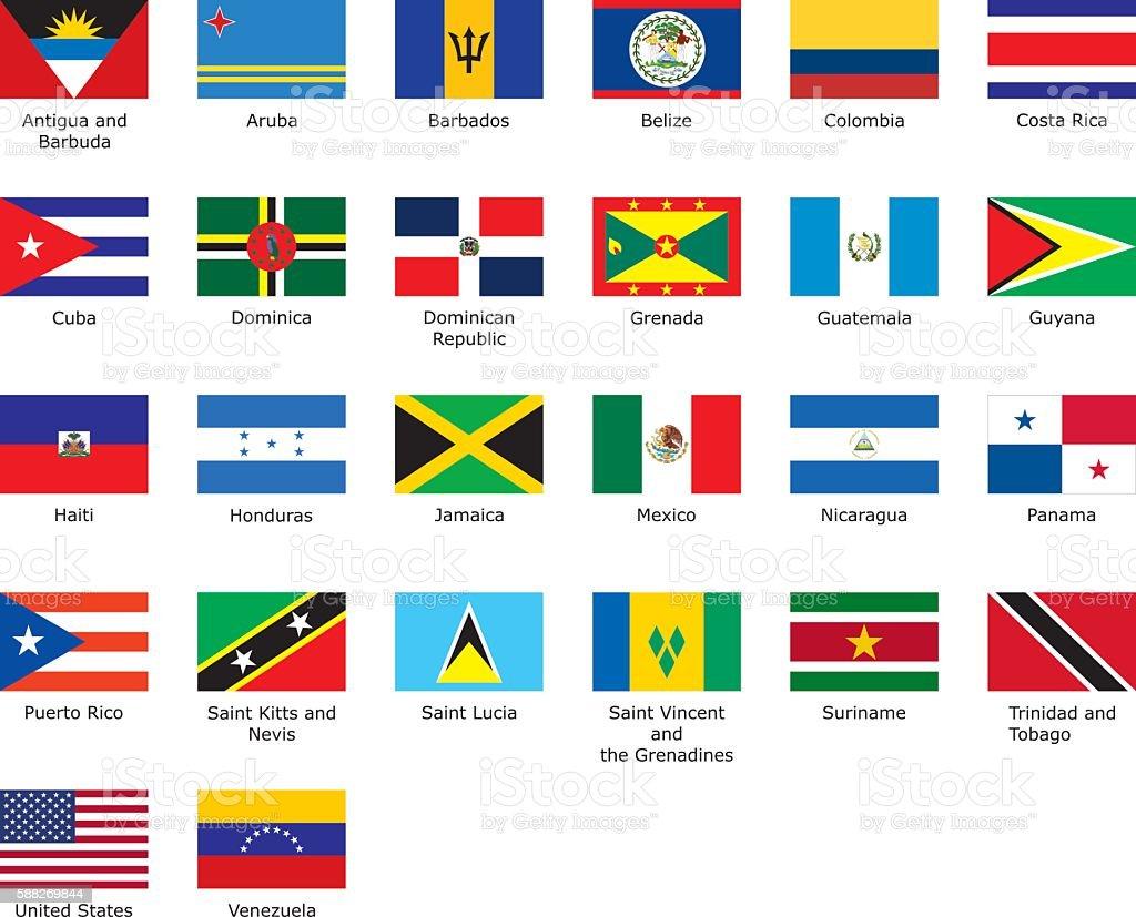 flags of Caribbean vector art illustration