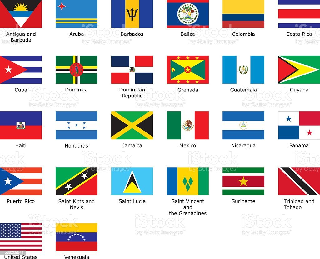 flags of Caribbean vector art illustration