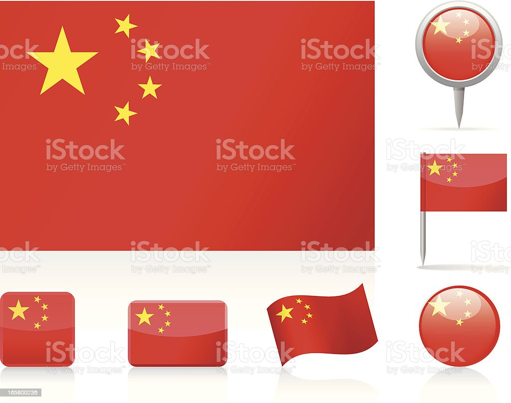 Flags of China vector art illustration