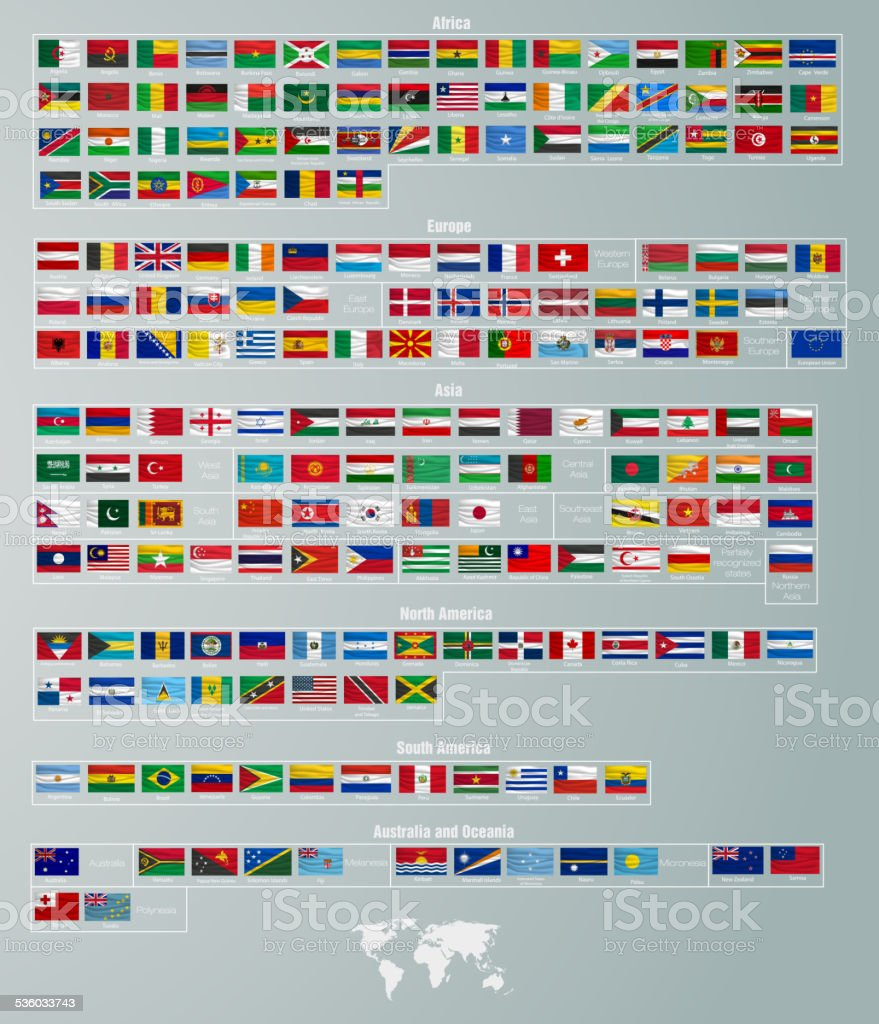 flags of countries divided by parts of the world vector art illustration
