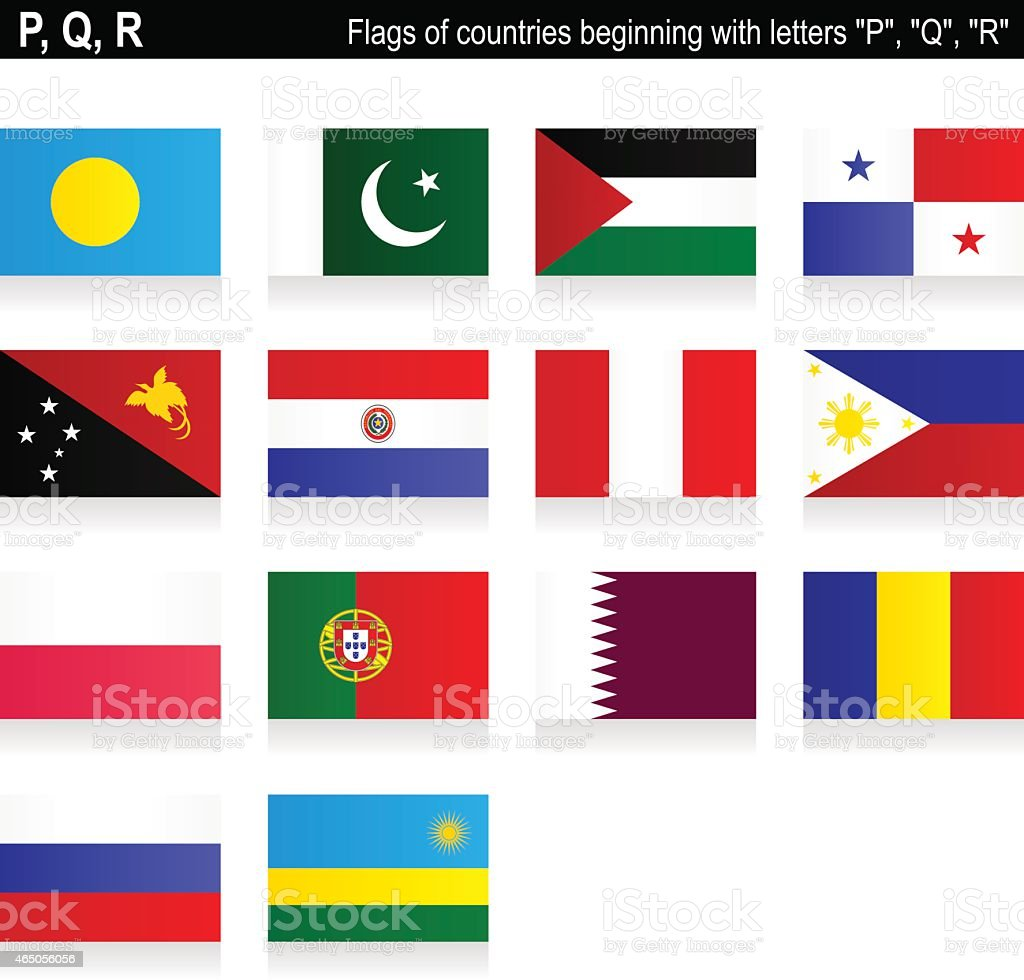 Flags of countries - 'P', 'Q', 'R' vector art illustration
