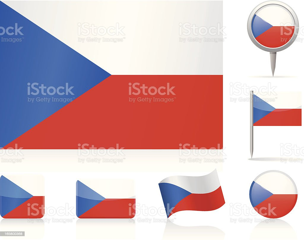 Flags of Czech Republic - icon set royalty-free stock vector art