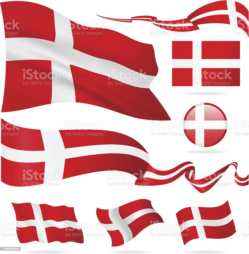 Flags of Denmark - icon set - Illustration vector art illustration