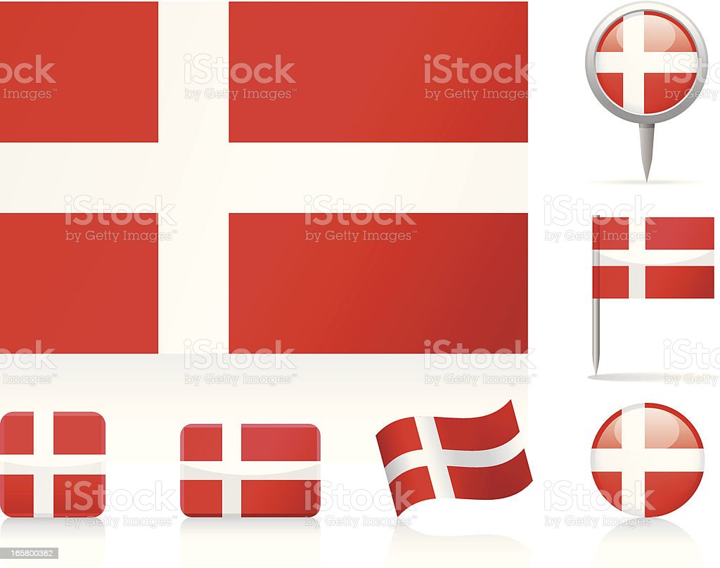 Flags of Denmark - icon set royalty-free stock vector art