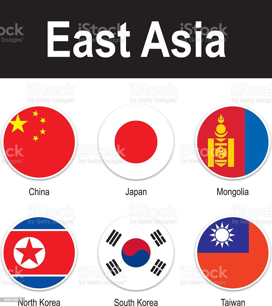 flags of East Asia vector art illustration