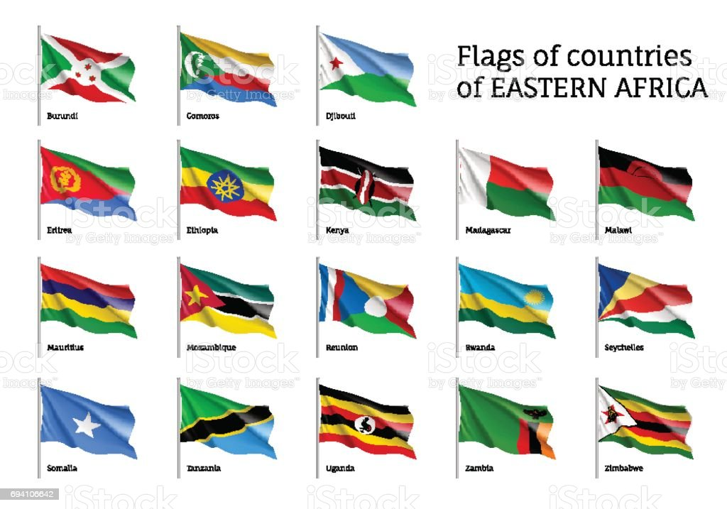 Flags of Eastern African states vector art illustration