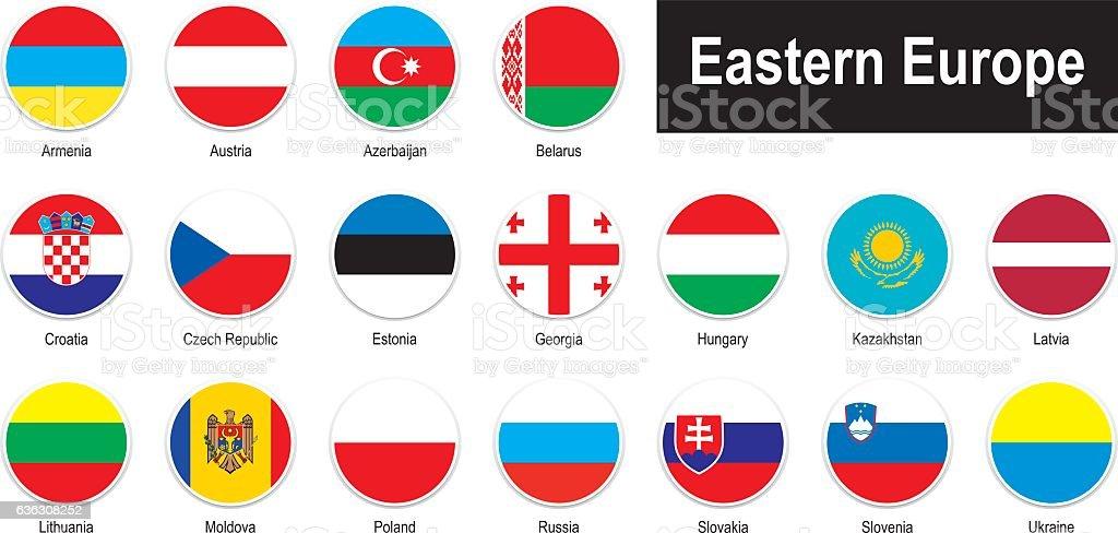 flags of Eastern Europe vector art illustration