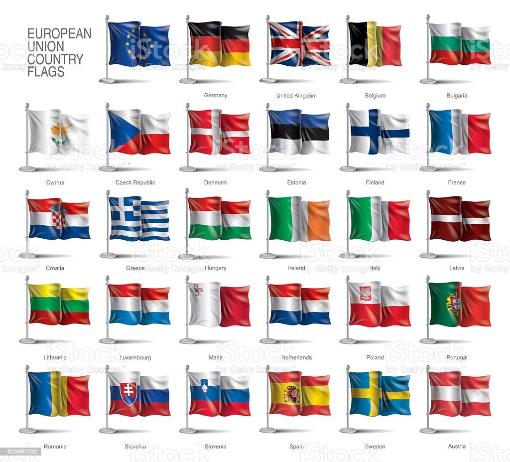 Flags of Europe vector art illustration