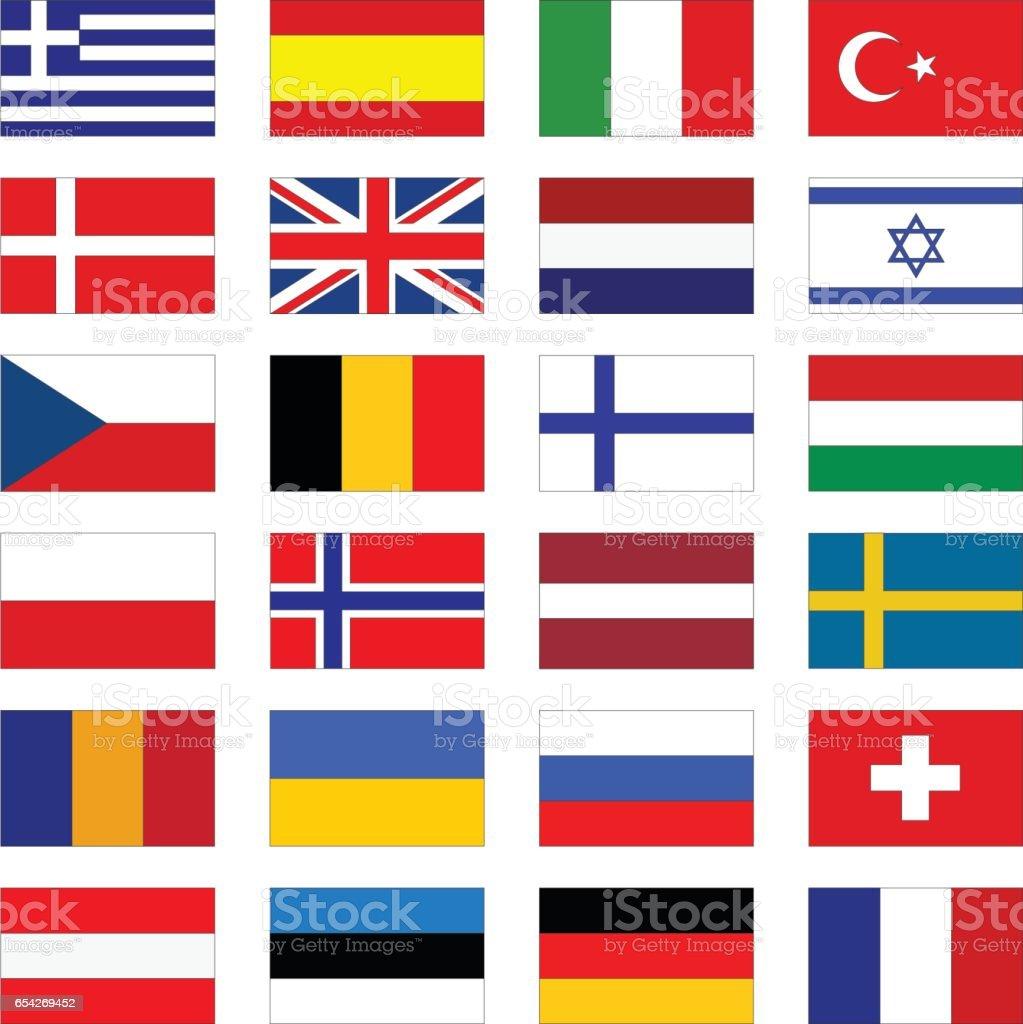 Flags of Europe vector art illustration