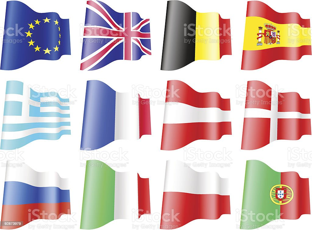 Flags of European countries set1. royalty-free stock vector art
