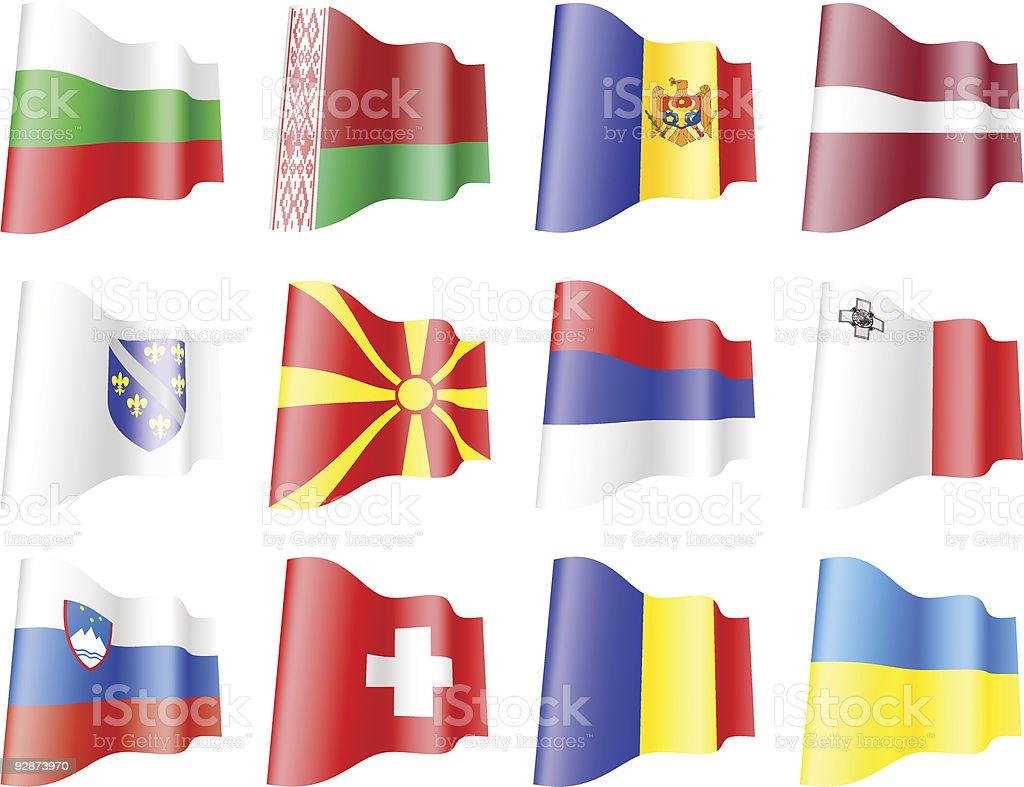 Flags of  European countries set2 vector art illustration