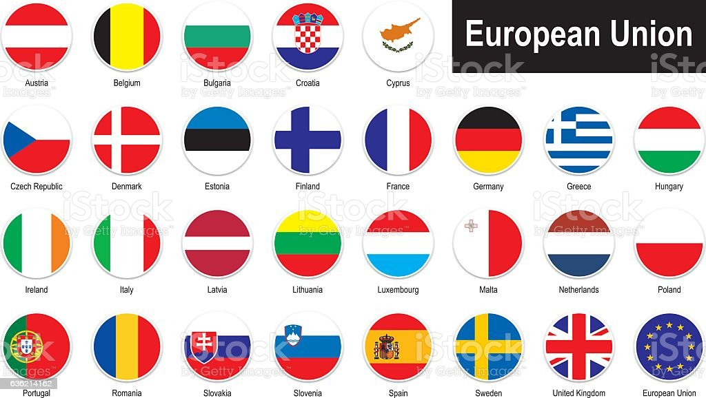 flags of European Union vector art illustration